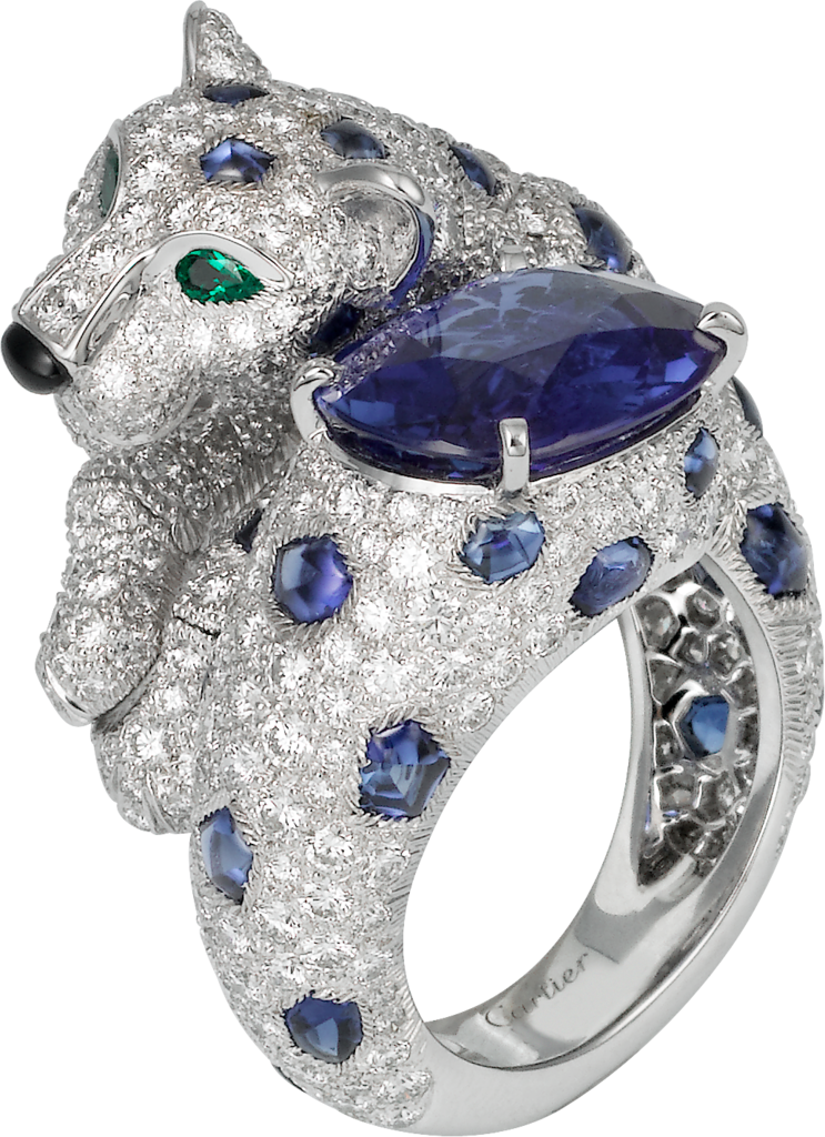 Panthère de Cartier High Jewelry ringPlatinum, sapphires, emeralds, diamonds