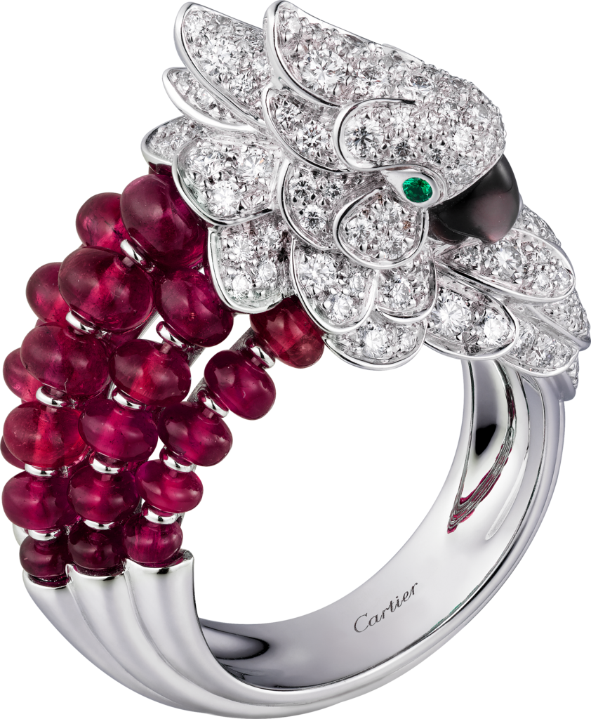 Les Oiseaux Libérés ringWhite gold, rubies, emeralds, mother-of pearl, diamonds