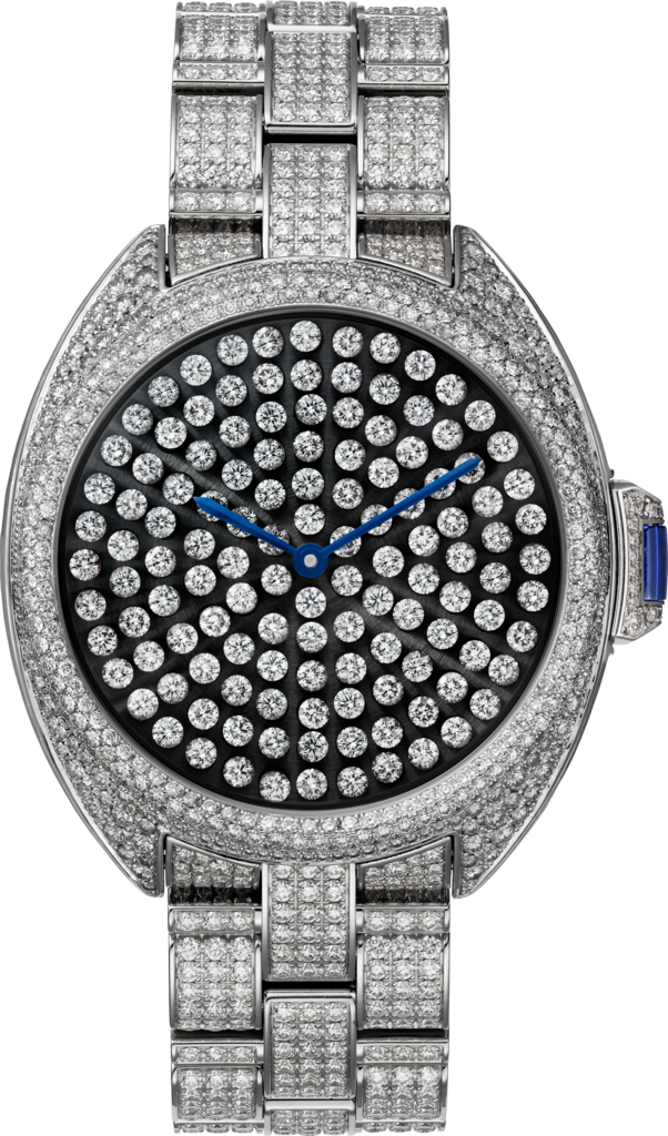 Clé de Cartier watch40 mm, rhodiumized 18K white gold, diamonds