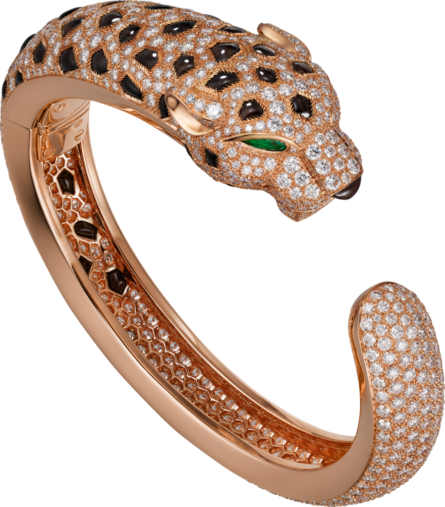 Panthère de Cartier braceletPink gold, emeralds, obsidians, diamonds