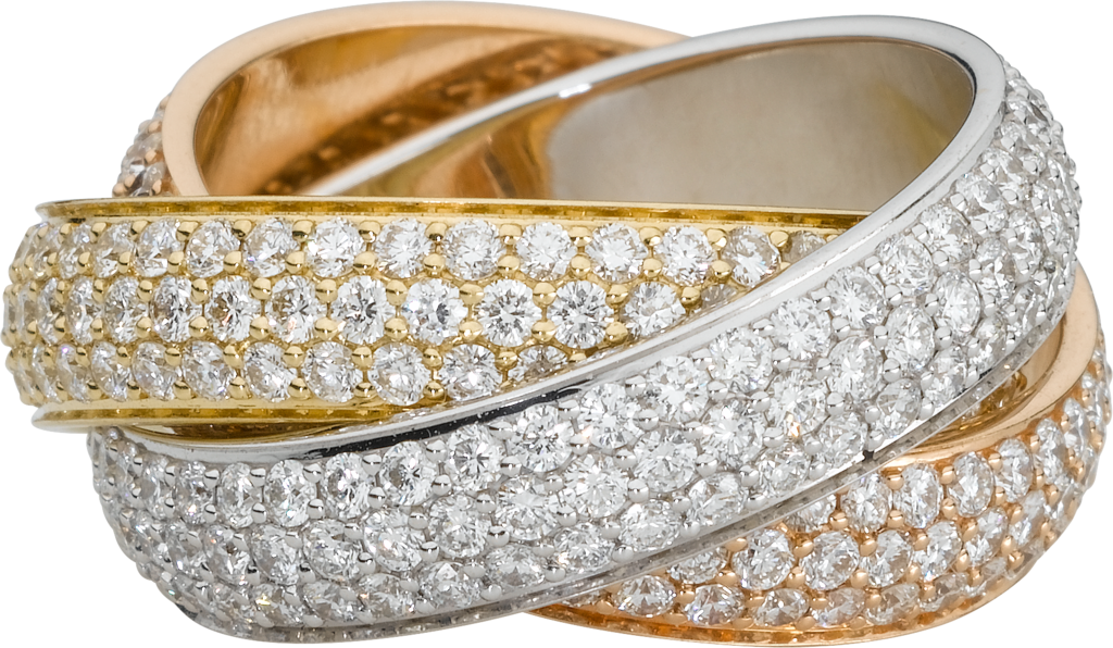 Trinity ring, LMWhite gold, yellow gold, pink gold, diamonds