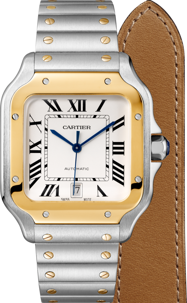 Santos de Cartier watchLarge model, automatic, gold and steel, interchangeable metal and leather bracelets