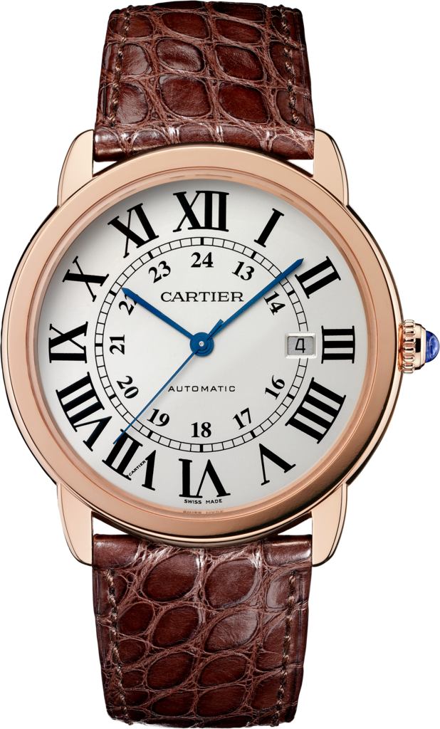 Ronde Solo de Cartier watch42 mm, 18K pink gold, steel, leather