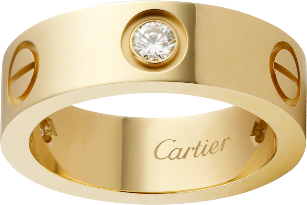 Love ring, 3 diamondsYellow gold, diamonds