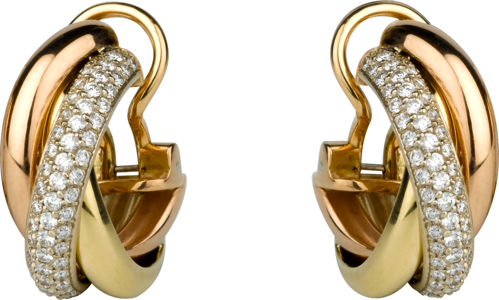 Boucles d'oreilles TrinityOr gris, or jaune, or rose, diamants