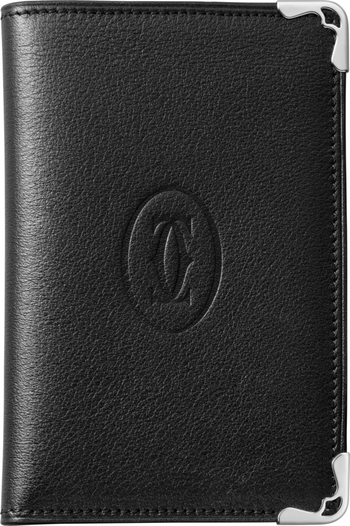 Must de Cartier Small Leather Goods, 4-credit card holderBlack calfskin, stainless steel finish